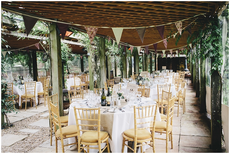 Pergola decorated for reception with bunting