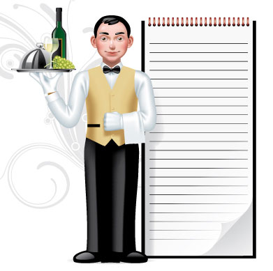 Waiter, Writing Pad, Cafe and Resto, cartoon, cafe cartoon, menu, drink, waiter vector, cafe vector, resto vector, logo resto vector, vector resto, vector cafe