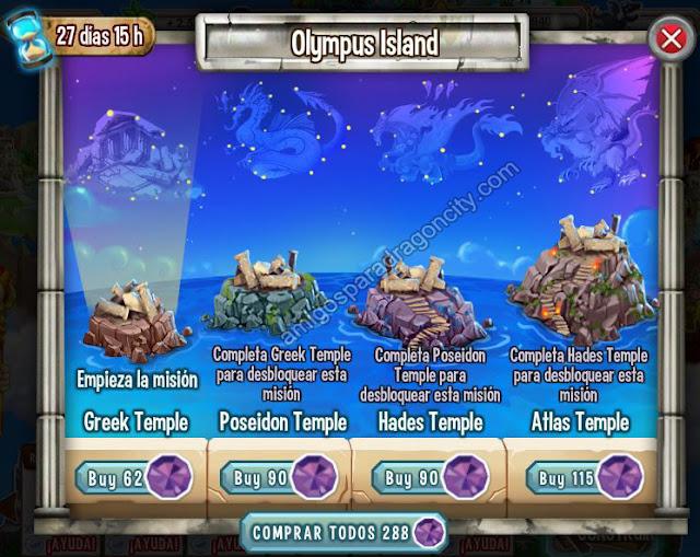 imagen de los mini juegos de la isla olympus de dragon city