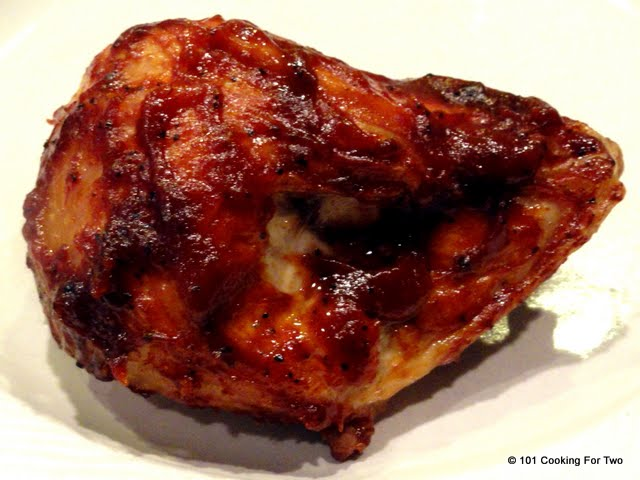 Simple Oven Baked BBQ Bone-in Skin-on (Split) Chicken Breast from 101 Cooking For Two