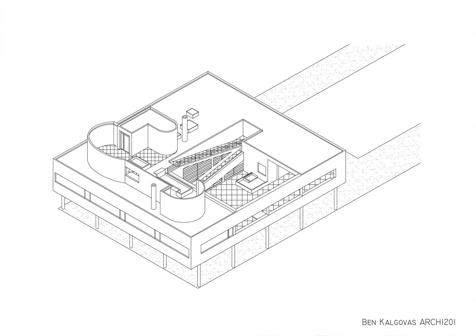 Garden design drawing - Arch 1201 Design Studio 3 Project 1 Villa Savoye Drawings