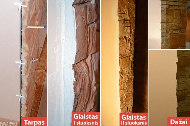 Dekoratyvinis akmuo ir dažyta siena