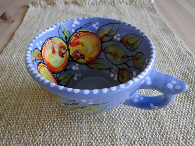 Hand-painted pottery cup by Sophia Trach, Lviv, Ukraine