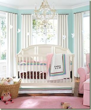 Habitaci n de beb rosa y turquesa dormitorios con estilo for Habitacion azul turquesa