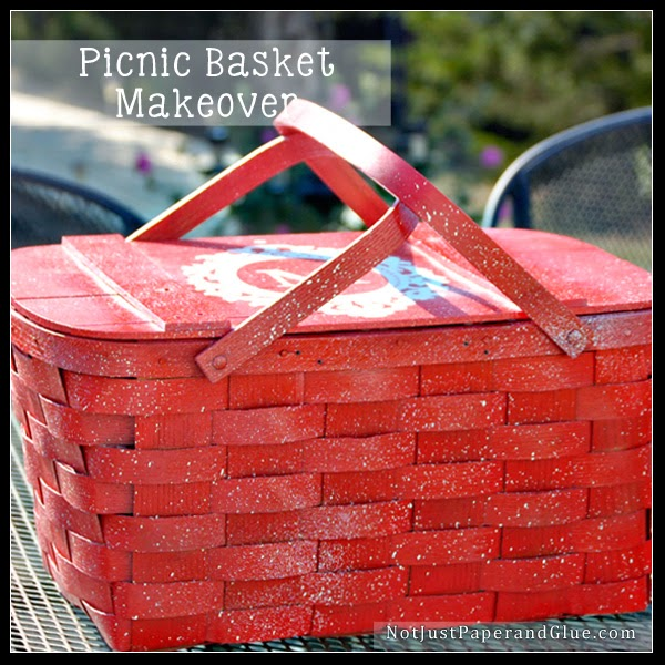 Picnic Basket, Vermont, Basketville, Paint, Upcycle, Spray Paint, Not Just Paper and Glue, Tammy Malone