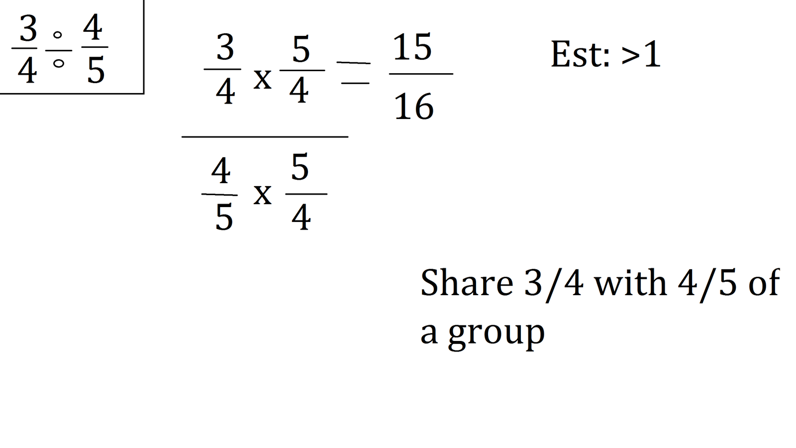 how to draw 1 2 divided by 3 4