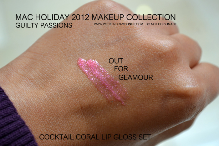 mac holiday 2012 makeup collection guilty passions lipgloss cocktail coral indian darker skin beauty blog swatches cremesheen dazzleglass out for glamour sublime shine on the scene Geo Pink