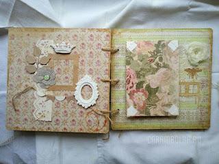 Альбом для фотографий (скрап-альбом) своими руками. Стиль: чердачный, винтаж, романтичный. Использованы цветы ручной работы из шифона, гипсовые камеи, рамки, вырубка бигшот, трафареты, кружево, брадсы, скрап-бумага, бумага и ткань, тонированные в кофе, лен, бечевка, фишки, бисер, фотоуголки, люверсы. Автор carambolka.