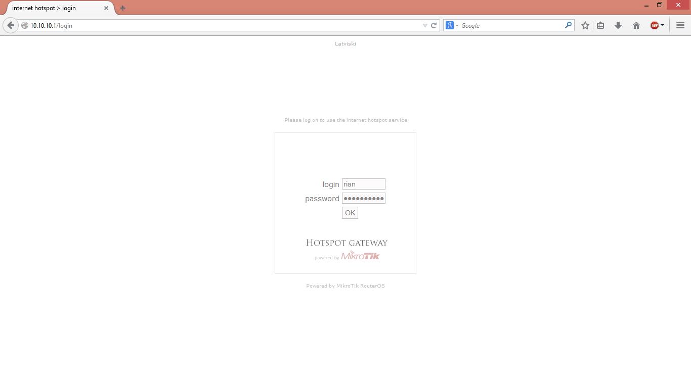 hotspot login page