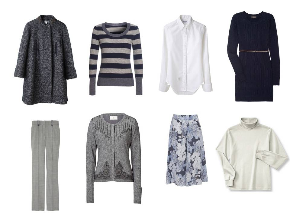 Cool Weather Capsule Wardrobe In Soft Grey Navy And