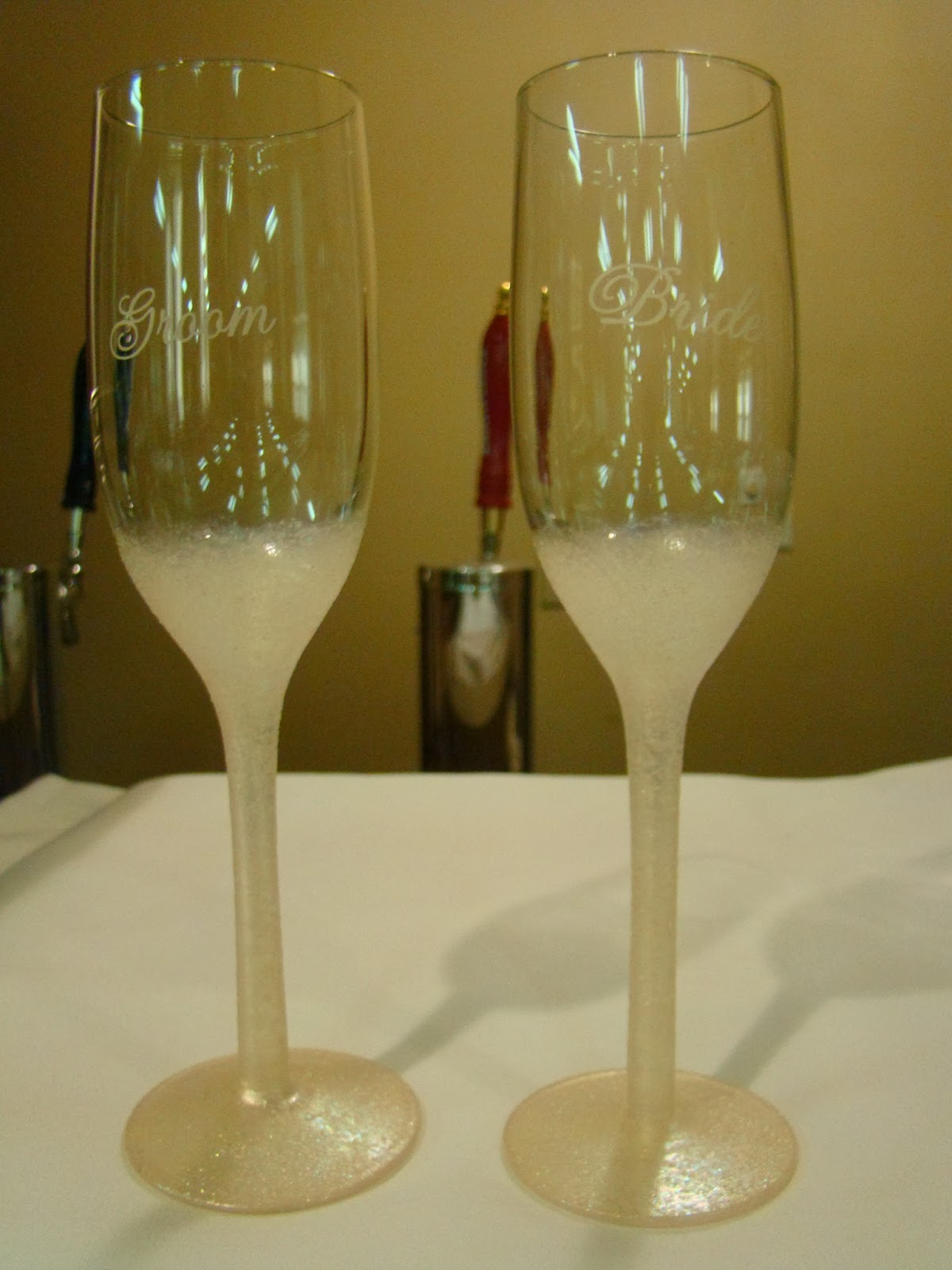 Painted Bride and Groom Glasses