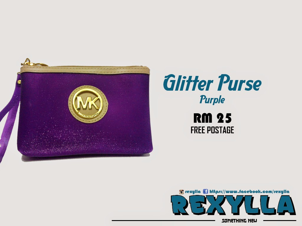 rexylla, glitter purse, purple