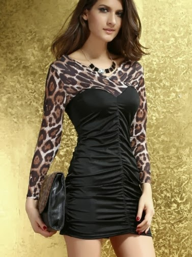 Leopard Printing Joint Drape Slim Hip Package Dress