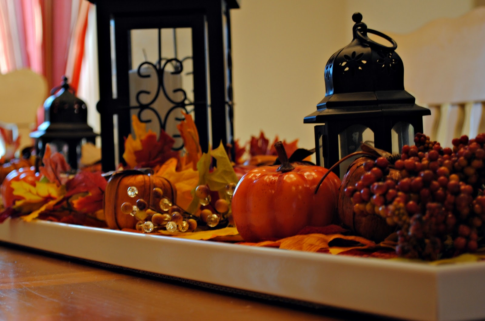 Dining table furniture fall centerpiece