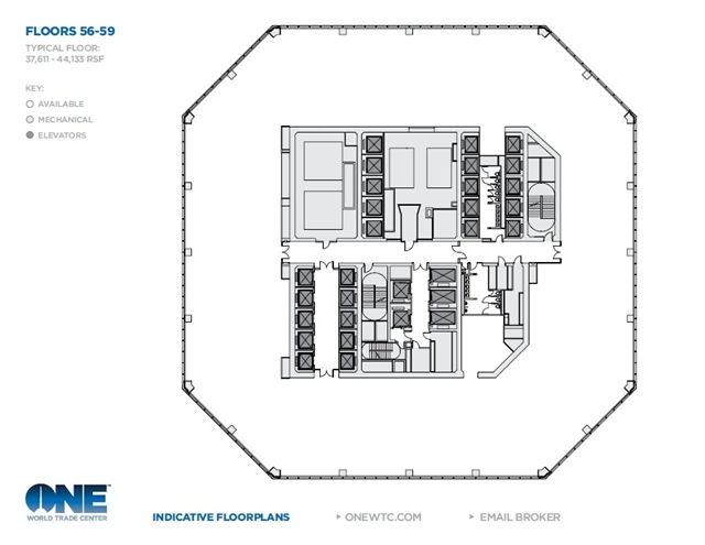 Floor plan of One World Trade Center by Skidmore, Owings & Merrill LLP (SOM)