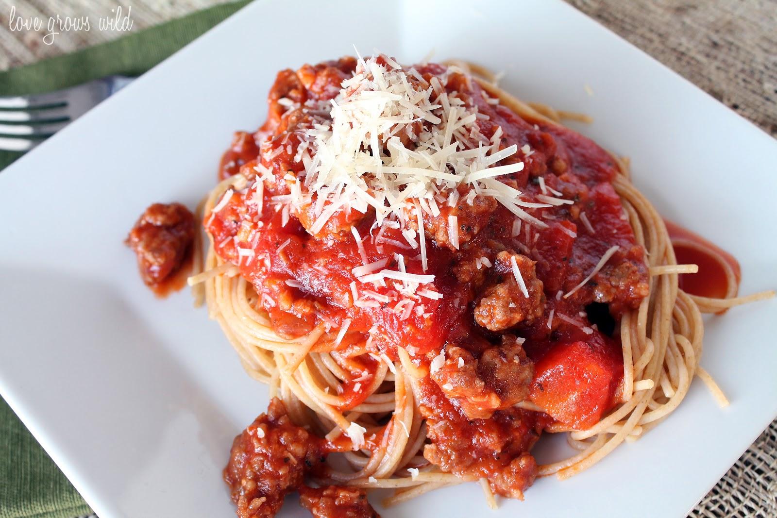Spaghetti Sauce with Italian Sausage - Love Grows Wild