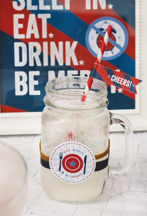 Free Printable Labor Day Decorations: Labor Day Party Printables Drink Flags Decorations