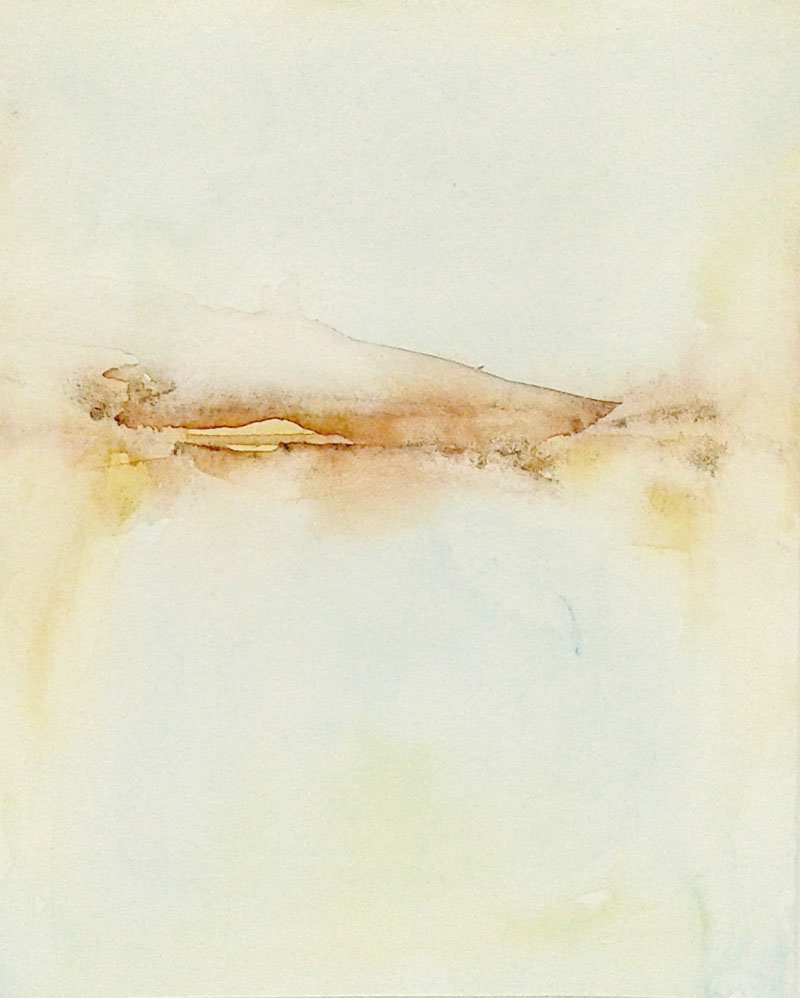 abstract delicate minimal watercolor landscape, earth tones and pastel blue, fragility