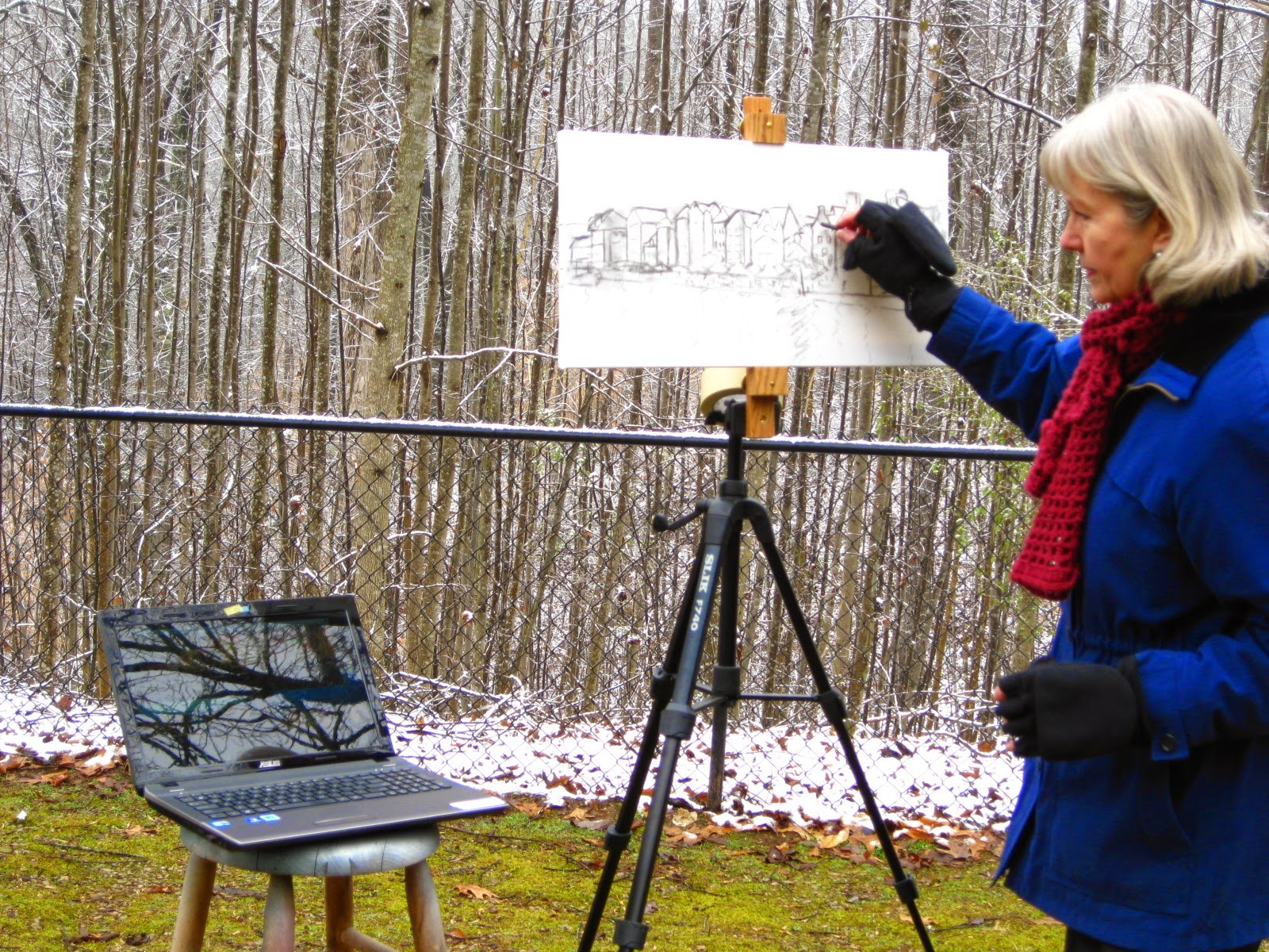 Joan Terrell artist outside creating View from the Bridge