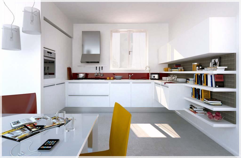 Åpne, moderne kjøkken med noen dukker av farge   interiør inspirasjon