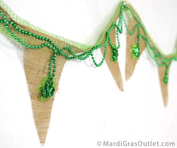 Burlap, St. Patrick's Day, Pennat Banner, No Sew, Poly Deco Mesh, Garland, Mardi Gras Beads, DIY,  Burlap Crafts