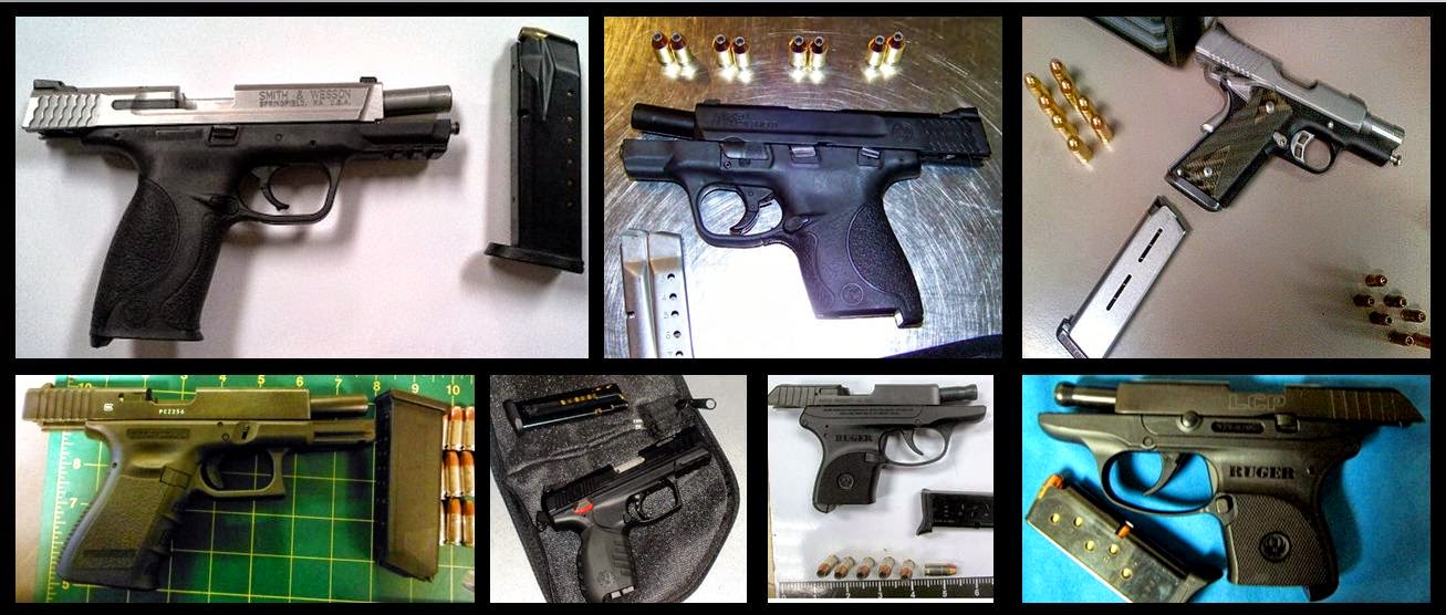 Loaded Guns Discovered at (Clockwise) SJU, MAF, BNA, LAS, BGR, CLT, LEX