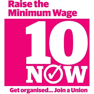 £10 Now Minimum Wage logo