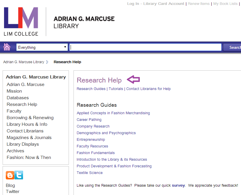 LIM College Adrian G. Marcuse Library Research Guides