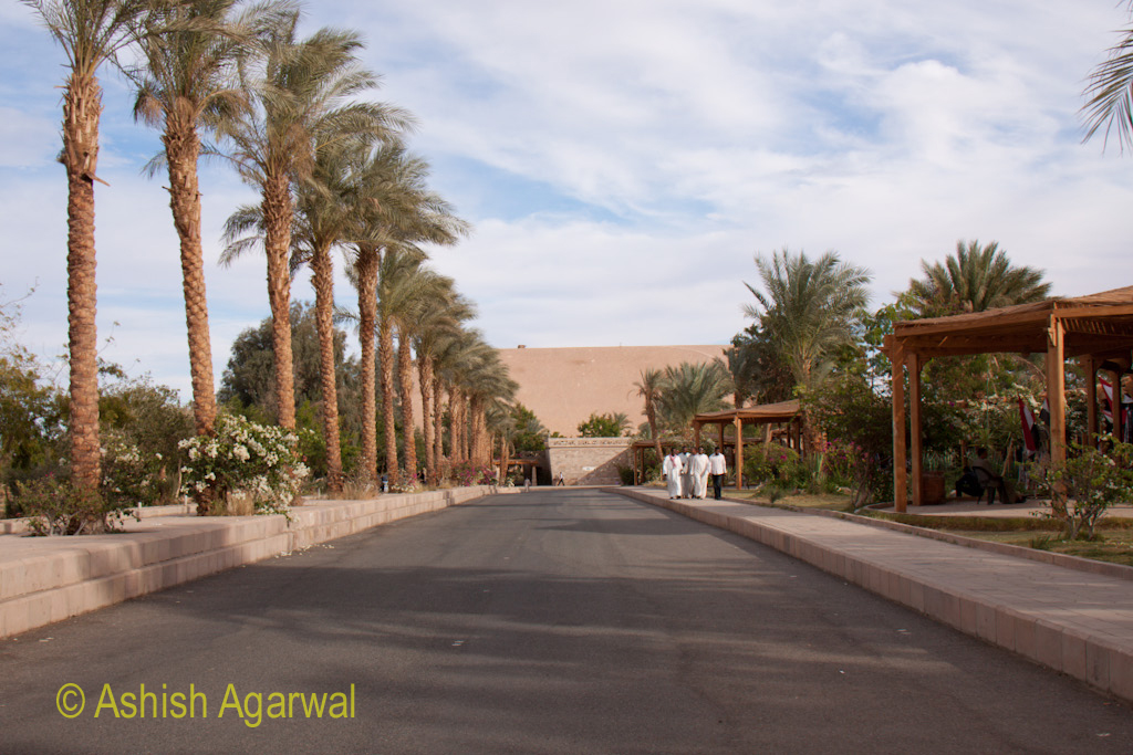 Path from the parking to the entrance gate of the Abu Simbel temple in South Egypt
