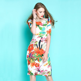 2017 Short Sleeve Summer Floral Print OL Dress