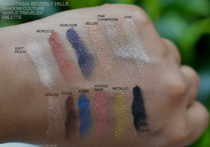Anastasia Beverly Hills Shadow Couture World Traveler Palette - Swatches