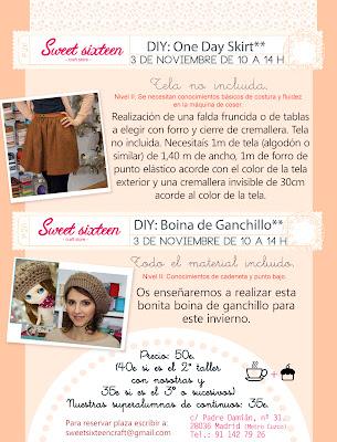 Talleres 3 de Noviembre en Madrid, hazte una falda o una boina de ganchillo.