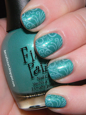 Becca Face Nail Art: Turquoise and Teal Swirl Nails