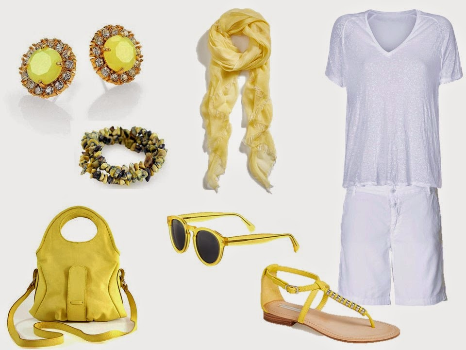 white linen tee shirt and shorts with soft yellow accessories
