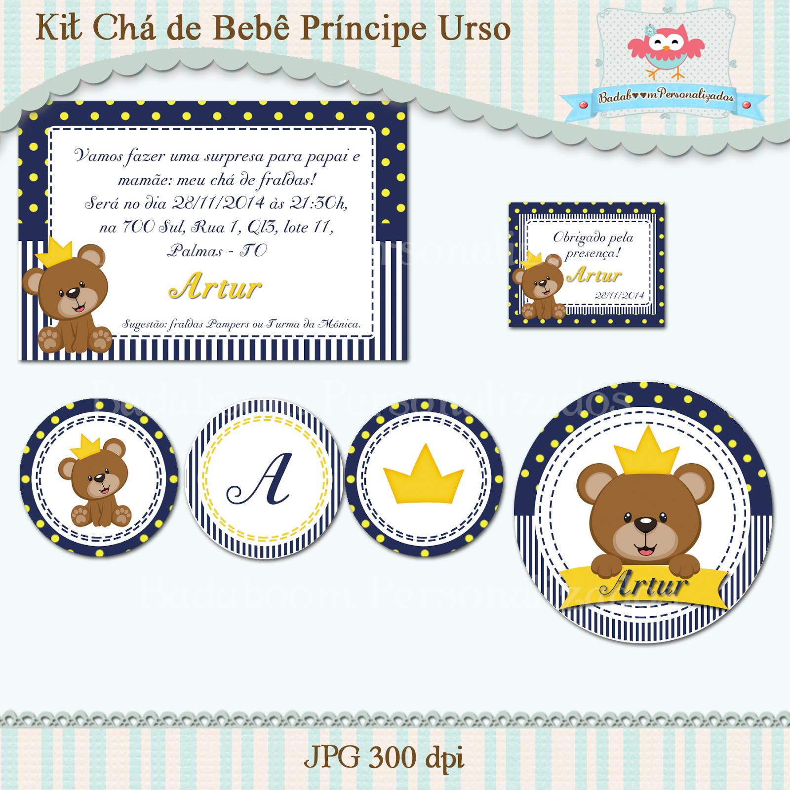 Chá de bebê, Festa Infantil, Kit Festa, Urso, Arte digital, Kit digital, convite, topper, totem, min to be, latinha, tag