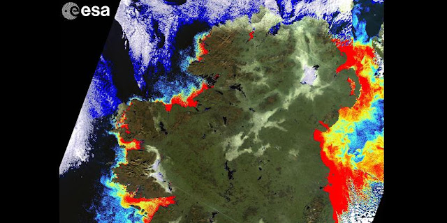 Coastal productivity of microscopic plants (red) along the Irish coast, as captured by ESA's Envisat satellite in January 2011. Such information can serve the aquaculture industry. Copyright ESA, Coastal & Marine Research Centre UCC