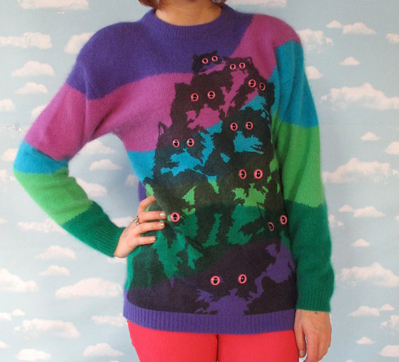 Pretty Snake Cat Sweater Vintage