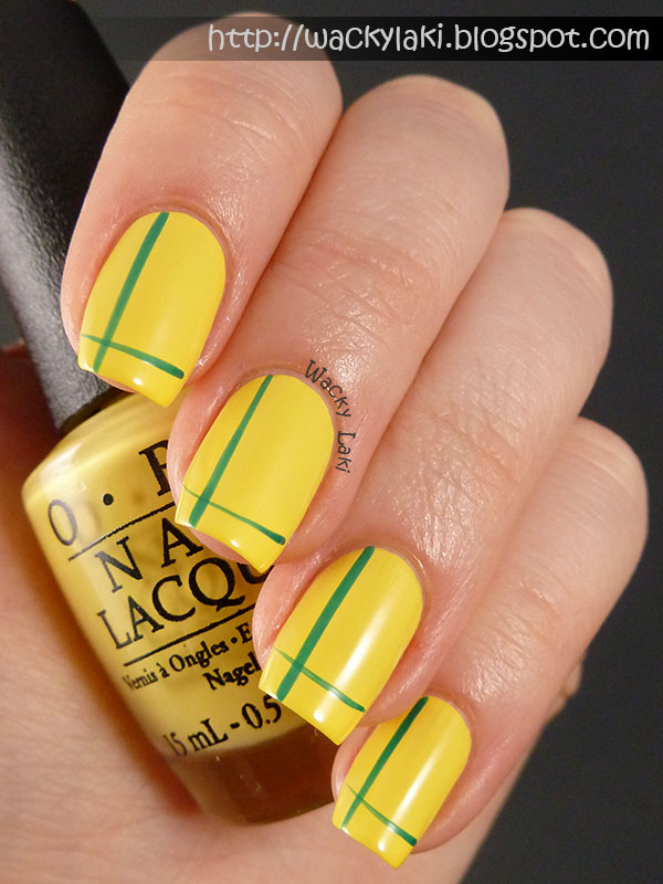 Wacky laki opi brazil nail art for this look i used a base of opi i just cant cope acabana the beautiful yellow cream then using a striping brush and opi amazon prinsesfo Image collections