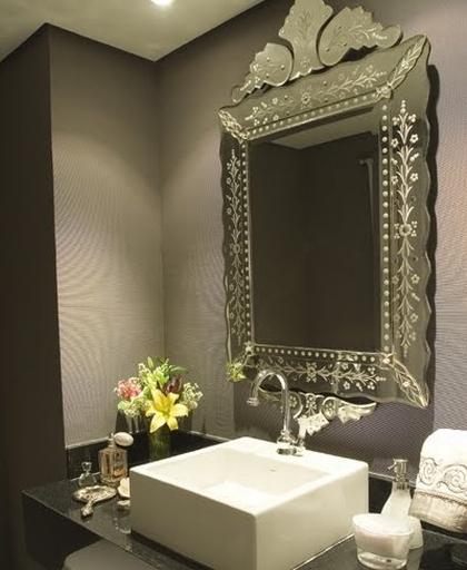 decorar lavabos redondos : decorar lavabos redondos:Espelhos podem ser um item de destaque na decoração, principalmente