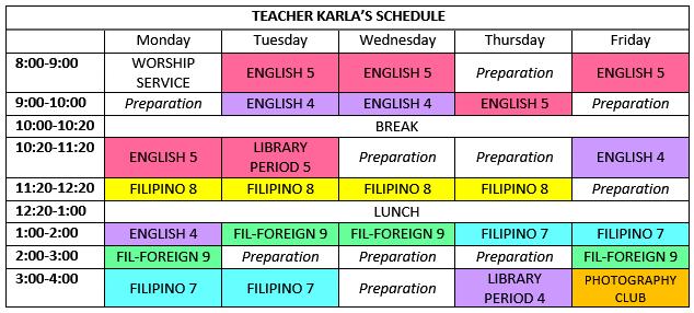 Teacher Karla: Teacher Karla's schedule