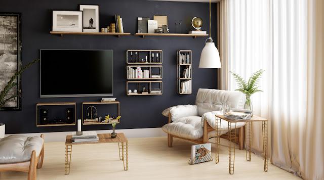 Cubo decorativo vertical Aramado e madeira