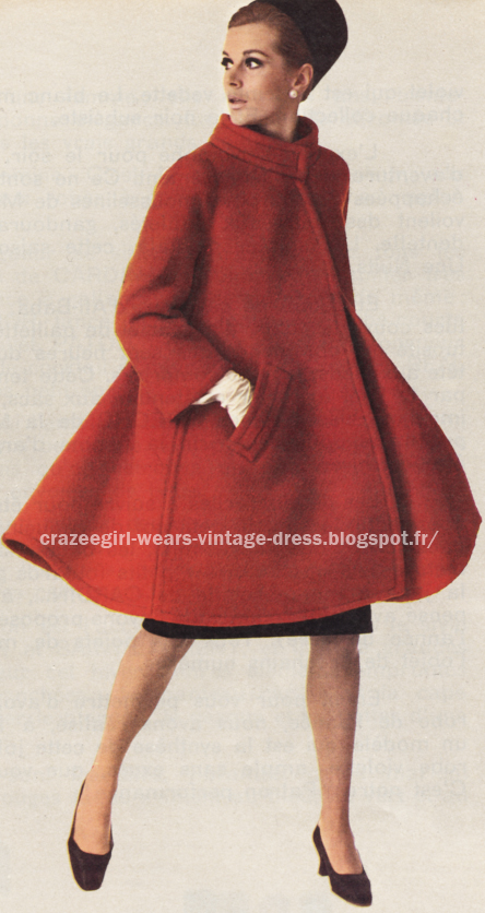 dress coat 1966  Nina Ricci 60s 1960 red