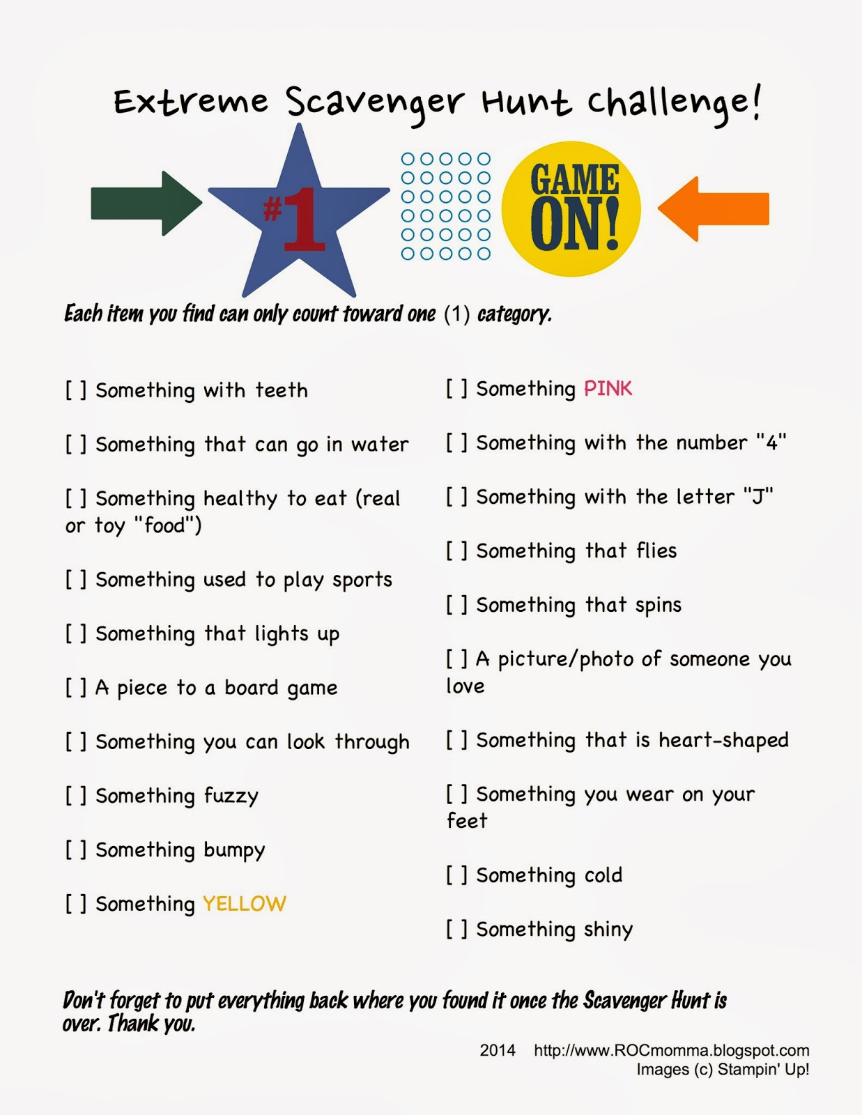 It is a photo of Smart Printable Scavenger Hunt