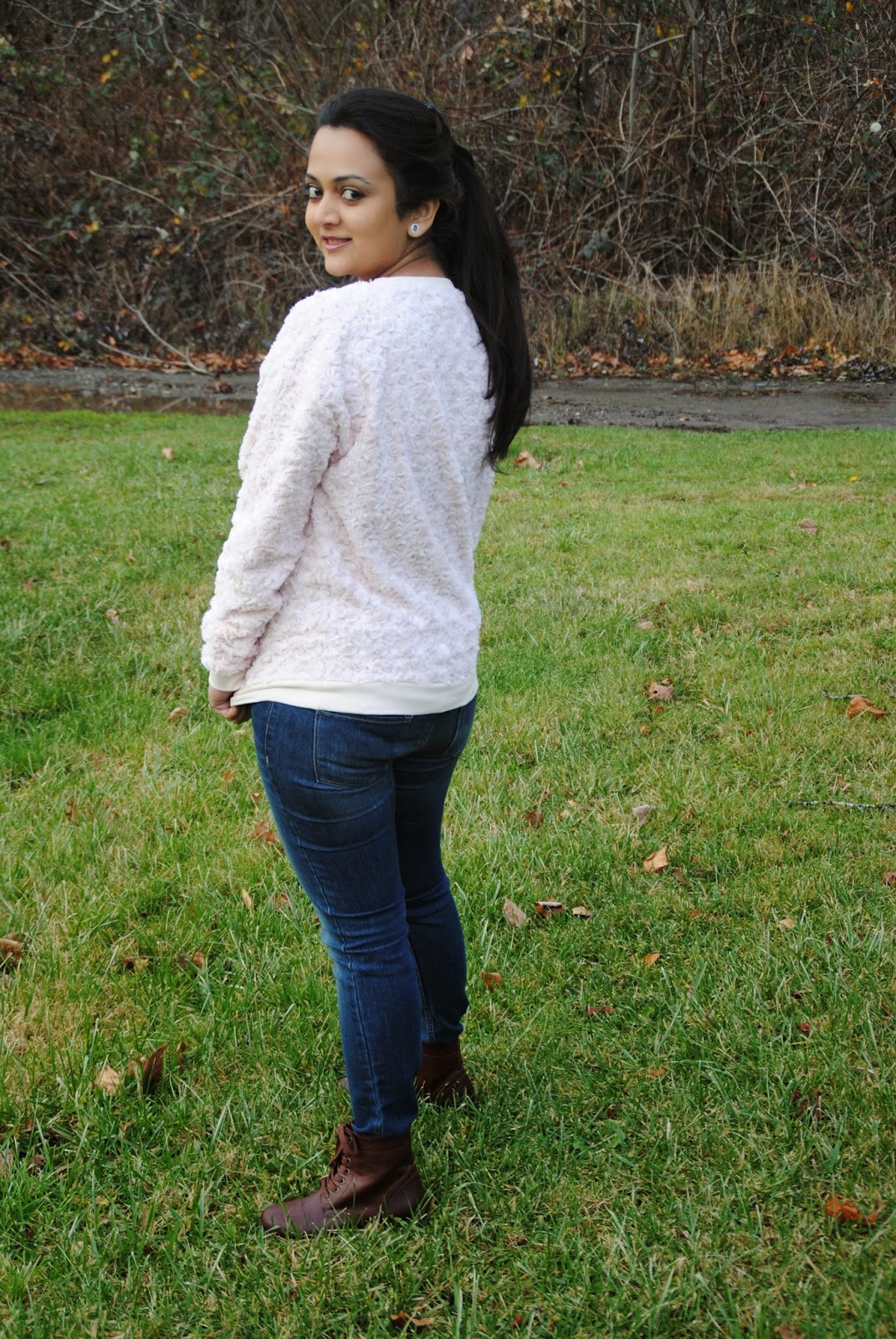 Peach Sweater with blue shaded denims,Peaches and Roses, Seattle Indian Fashion Bloggers, Seattle Winter Wear, Ananya Kiran, Indian Women Styling Options , Sweaters and Jeans