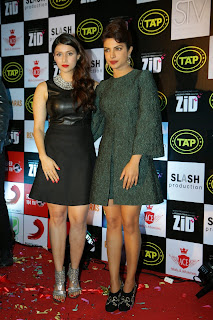 Mannara and Priyanka Chopra in Cute Short Dresses at Zid Movie Success Party