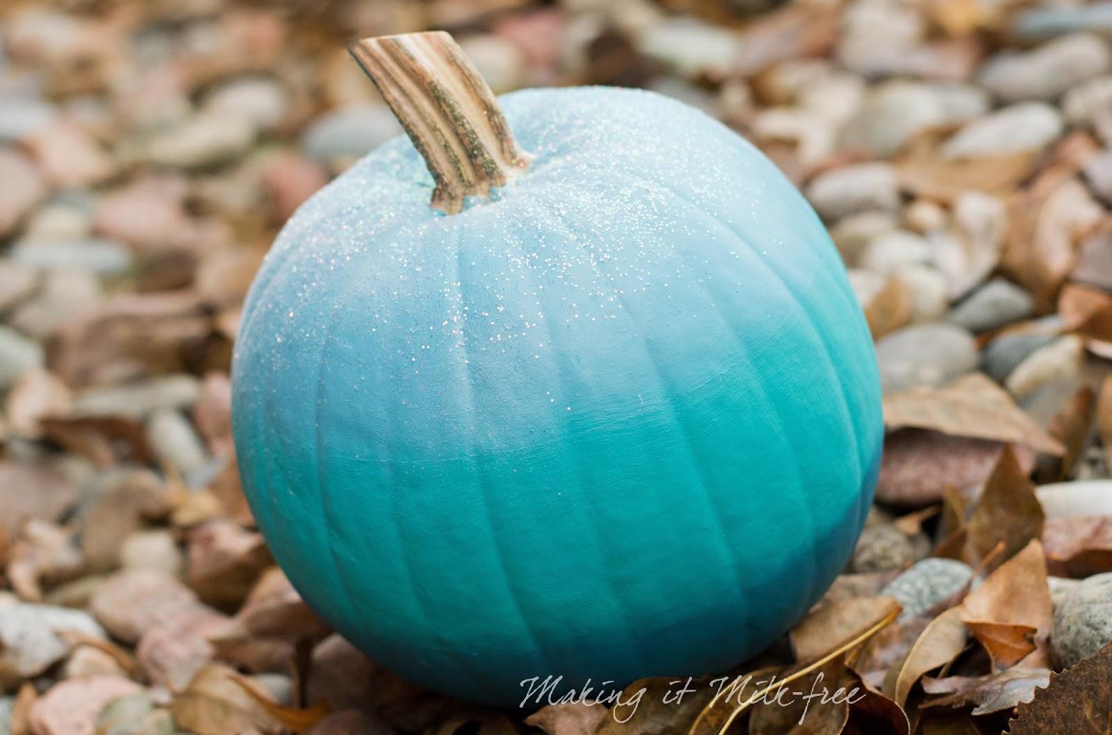 Teal Ombre Pumpkin with Glitter by Making it Milk-free   Teal Pumpkin Project   makingitmilkfree.com