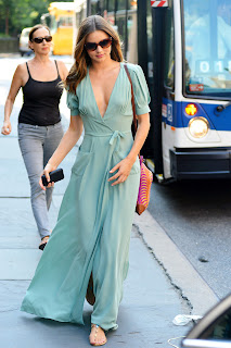 Miranda Kerr looks like a real goddess in a flowing floor length dress