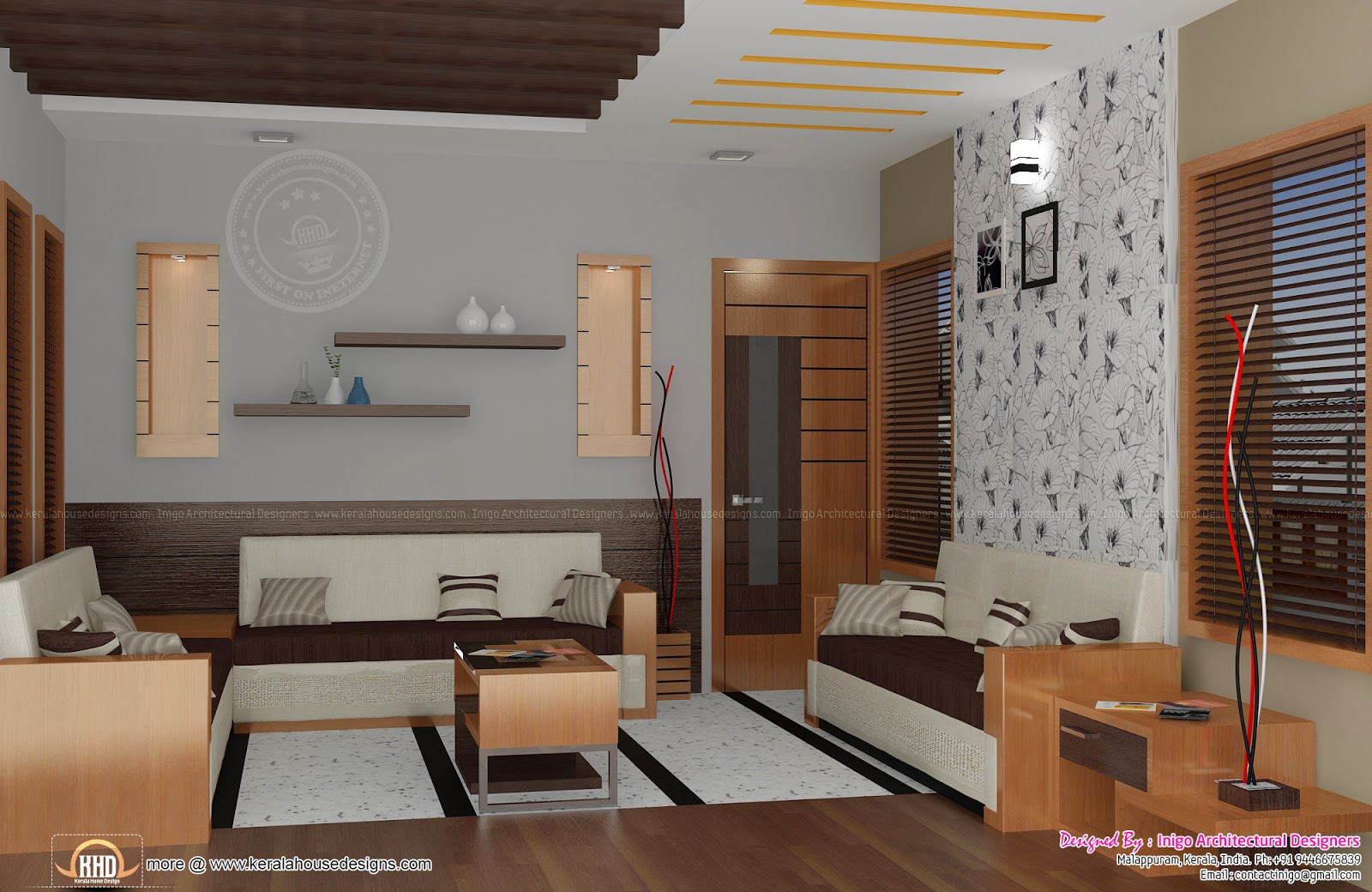 Home interior renderings by inigo architectural designers for Living room interior in kerala