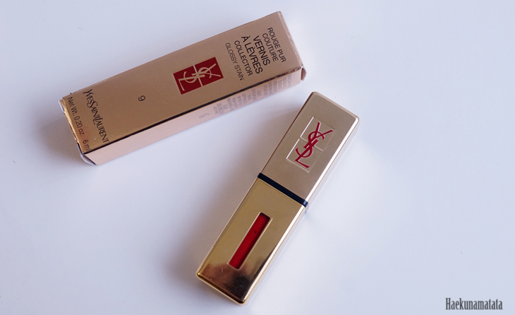 YSL Vernis A Levres Glossy Stain #9 Rouge Laque Swatch, Review & FOTD