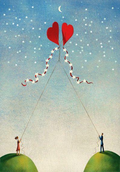 Jim Tsinganos ilustrações surreais oníricas natureza revista Enroscados no amor
